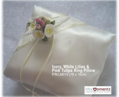 Ivory, White Daisys & Pink Tulips Ring Pillow (LM010)