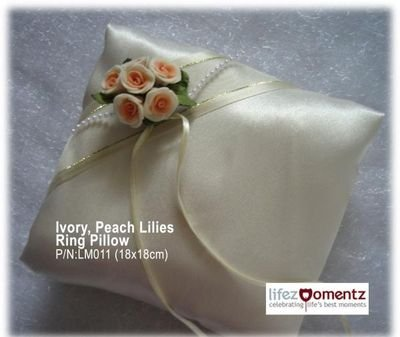 Ivory Satin, Peach Lilies Ring Pillow  (LM011)