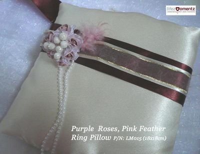 Ivory Satin, Purple Roses, Pink Feather Ring Pillow (LM015)