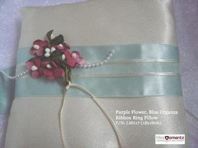 Ivory Satin, Purple Flower Blue Organza Ribbon Ring Pillow (LM017)