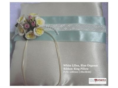 Ivory Satin, White Lilies Blue Organza Ring Pillow (LM020)
