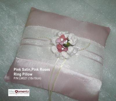 Pink Satin, Pink Rose Ring Pillow (LM021)