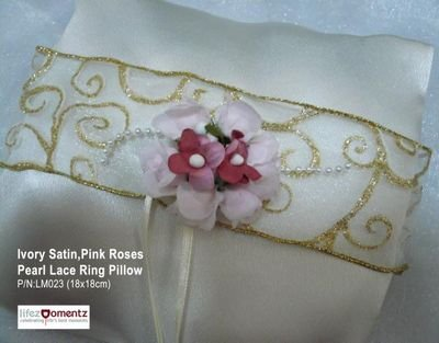 Ivory Satin, Pink Rose with Pearl Lace Ring Pillow (LM023)
