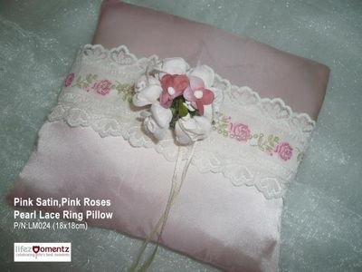 Pink Satin, Pink Roses Lace Ring Pillow (LM024)