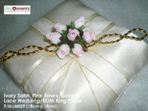 Ivory Satin, Pink Rose & Golden Lace ROM/Wedding Ring Pillow (LM029)