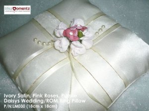 Ivory Satin, Pink Rose & Purple Daisys ROM/Wedding Ring Pillow (LM030)