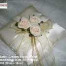 Ivory Satin, Champagne Roses ROM/Wedding Ring Pillow (LM032)