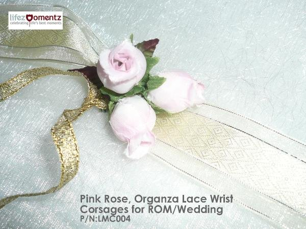 White Roses,Pink Tulips & Golden Lace Wrist Corsages or ROM/Wedding (LMC002)