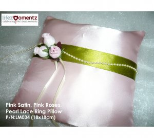 Pink Satin, Pink Roses & Pearl Lace Wedding Ring Pillow  (LM034)