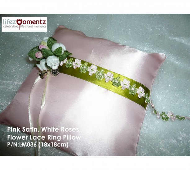 Pink Satin, White Roses, Flower Lace Ring Pillow (LM036)