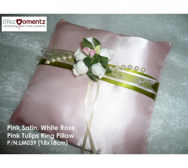 Pink Satin, White Roses, Pink Tulips Ring Pillow  (LM039)