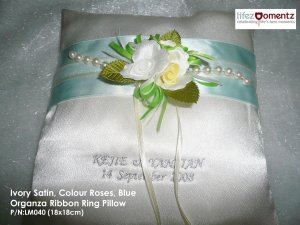 Ivory Satin, Colour Roses, Blue Organza Ring Pillow (LM040)