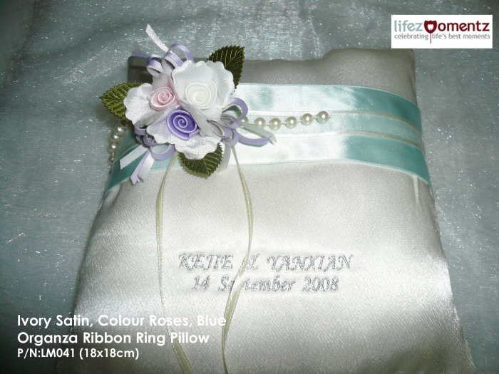 Ivory Satin, Colour Roses, Blue Organza Ring Pillow (LM041)