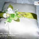 Ivory Satin, Colour Roses, Green Organza Ring Pillow (LM042)