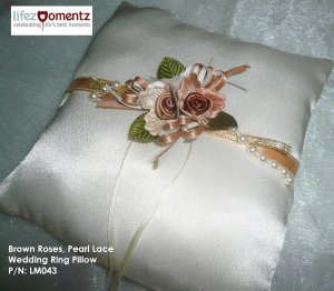 Ivory Satin, Brown Roses, Pearl Lace Ring Pillow