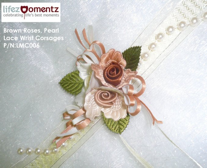 Brown Roses, Pearl Lace Wrist Corsages (LMC006)