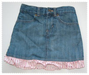 Gap Girls Demin Skort with ruffled hem size 6 Reg