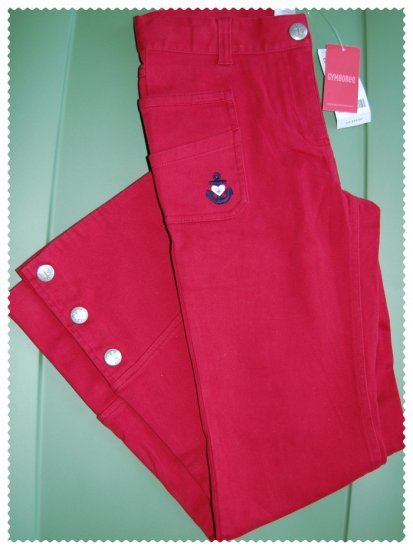 Gymboree Bon Voyage Red Flare Pants size 12 NWT