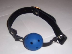 Leather Mouth Harness - Blue Ball Gag Prop with Airway