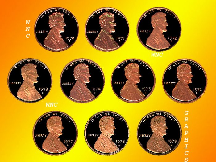 1970 - 1979 S Lincoln Proof Cents *10 Coins