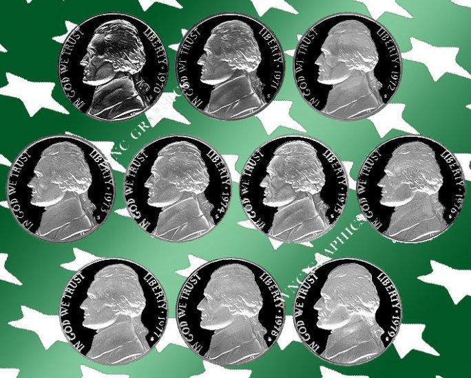 1970 - 1979 S Jeff Nickel Proof Set *10 Coins