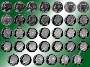 1960 - 1993 Roosevelt Proof/SMS Set*34 Coins
