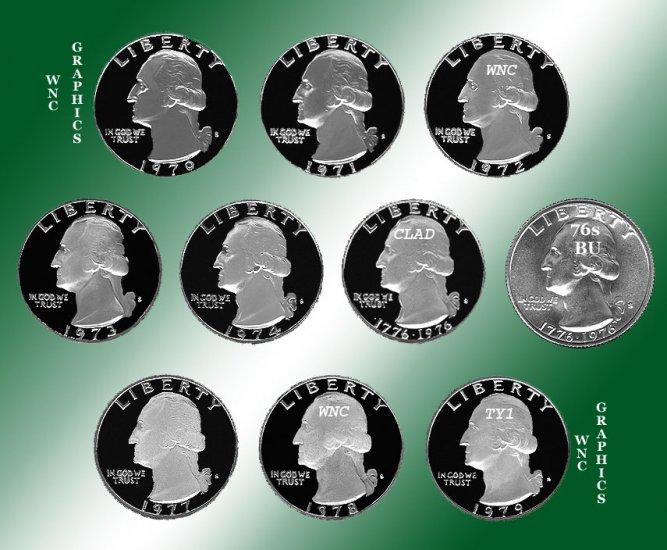 1970 - 1979 S Washingtons 9 Proofs +BU Silver