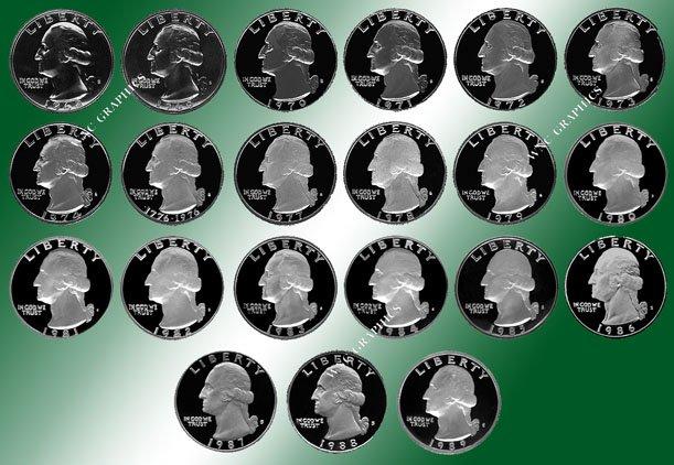 1968 - 1989 Washington Proof Coins - 21 Coins