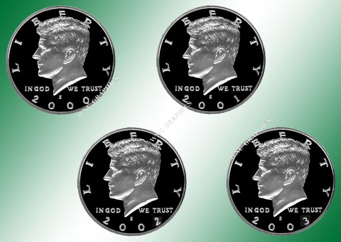 2000 - 2003 S Kennedy Proof Halves *Nice*
