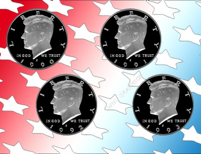 1990 - 1993 S Kennedy Proof Halves All 4