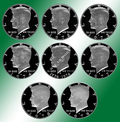 1971 - 1979 S Kennedy Proof Halves 8 Coins