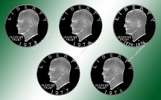 1973, 1974,1976 TY2,1977 & 1978 Ike Clad Proof Dollars
