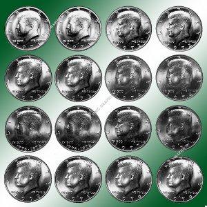 1971 - 1979 P & D BU  Kennedy Half Dollars *16 BU Coins