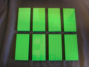 Lot of 8 8x16 dot Green Thick Used LEGO Baseplates