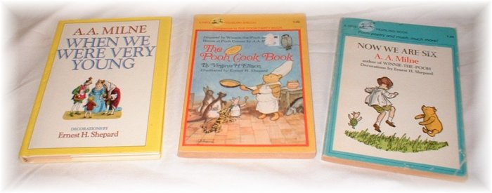 A.A. Milne LOT OF 3 BOOKS Winnie the Pooh including the Pooh Cookbook