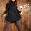 PomPom sleeves one piece-Black