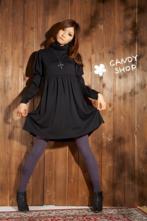 PomPom sleeves one piece-Black