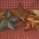Primitive Folk Art Barn Star Ornies w/ rusty bell