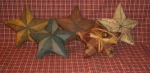 Primitive Folk Art Barn Star Ornies w/ rusty bell