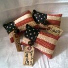 Primitive Pieced American Flag Ornies
