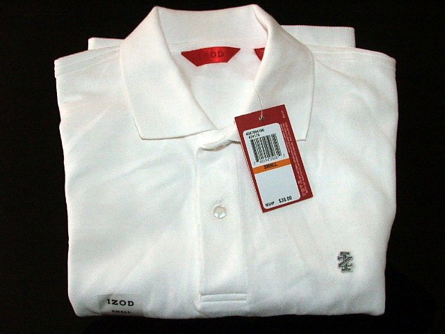 NWT Izod Mens Luxury Sport Polo Shirt White S $38
