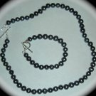 Genuine Pearl Necklace Bracelet Set Black