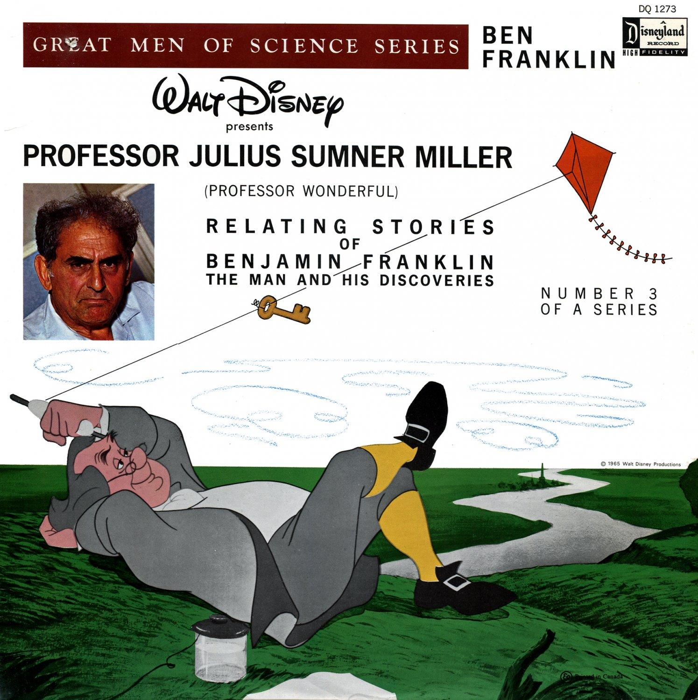 Benjamin Franklin, Great Men Of Science Vol. 3 - Disneyland Storyteller, Julius Sumner Miller LP/CD