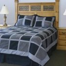 Navy Grey And Lt.blue Block Design Ultra Suede Queen Size Bed In A Bag.