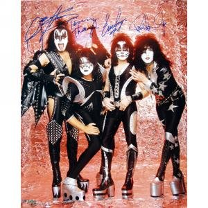 Kiss Autographed Group Pose Fire 16x20 Photograph