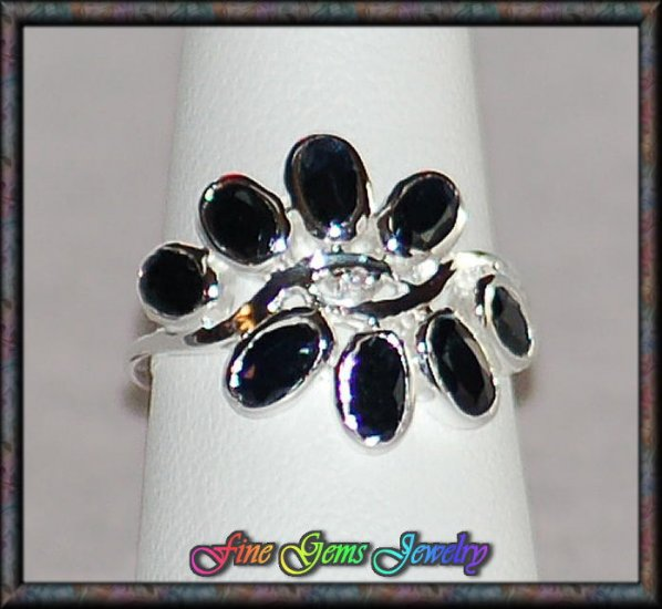 Genuine Diamond and Sapphire Sterling Silver Ring - SZ 7