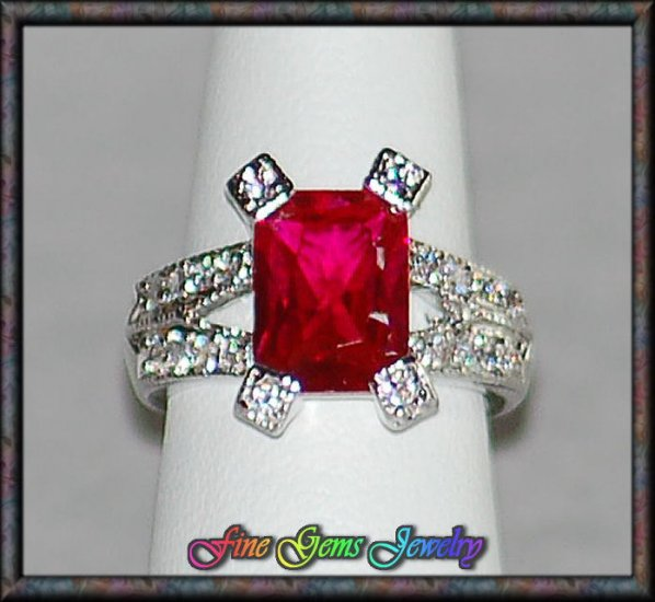 Emerald Cut Dark Red & Clear CZ Rhodium Plt Ring - Sz 6