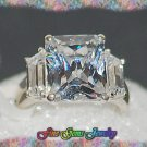 Clear Emerald Cut and Baguette CZ Sterling Silver Ring - Sz 6