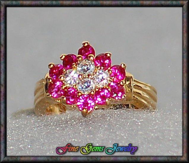 2ctw Ruby CZ Simulated Diamond Gold Tone Snowflake Ring - Sz 6