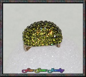 Outstanding Green CZ Dome Gold Plt Cocktail Ring - Sz 8